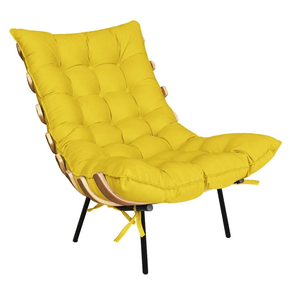 Poltrona Costela Suede Amarelo D'Rossi
