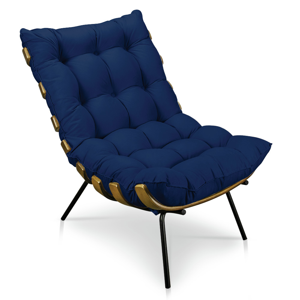 Poltrona Costela Suede Azul Marinho D'Rossi