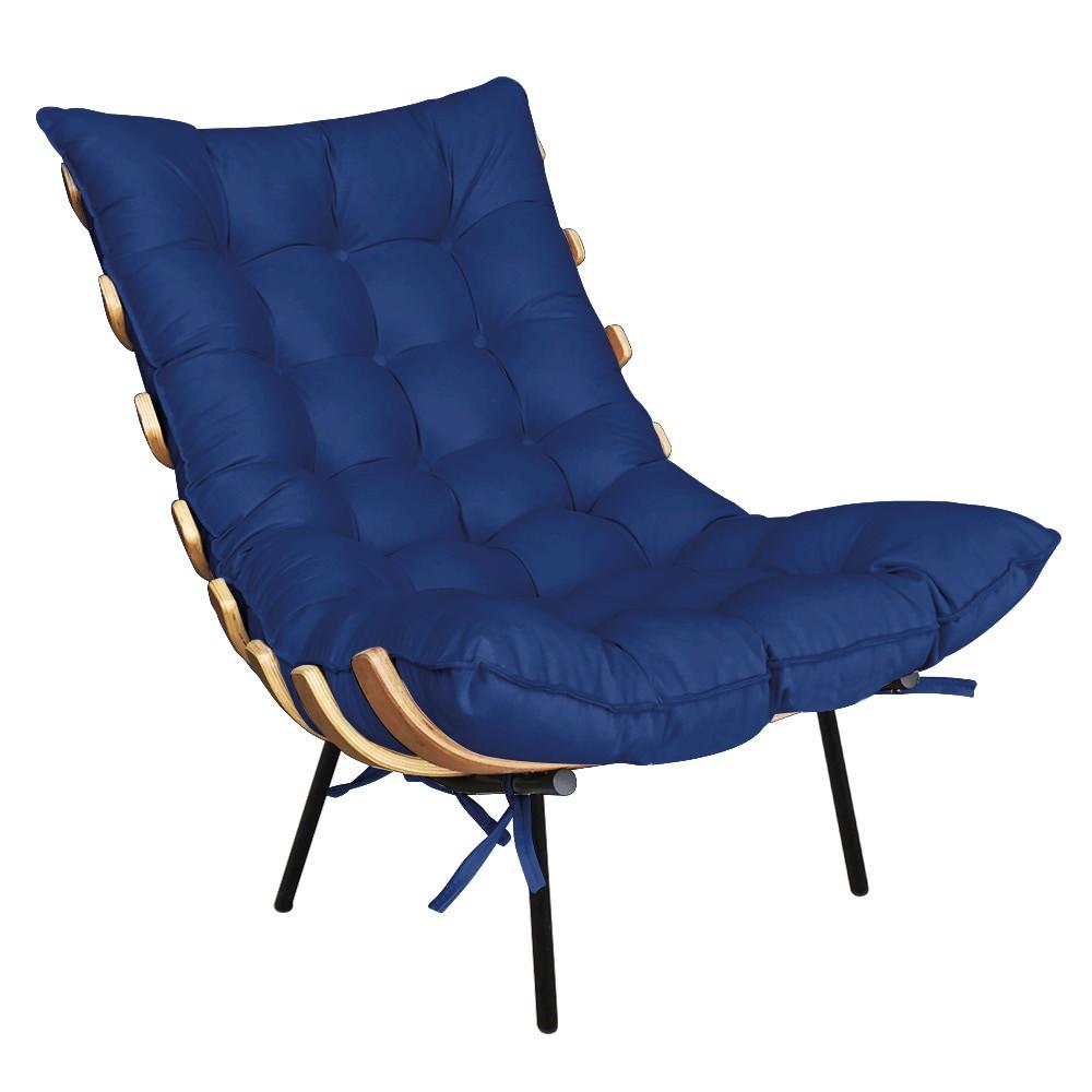 Poltrona Costela Suede Azul Royal D'Rossi