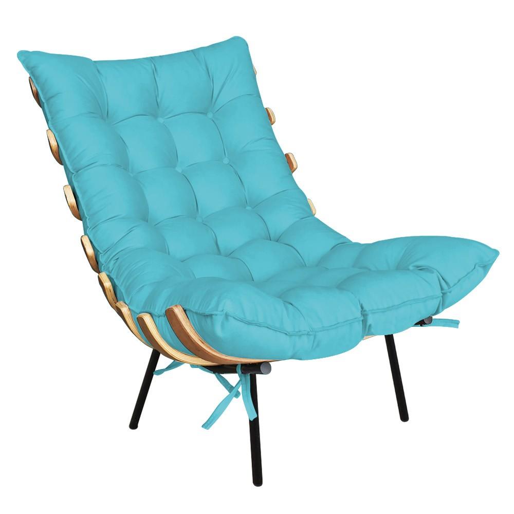 Poltrona Costela Suede Azul Turquesa D'Rossi