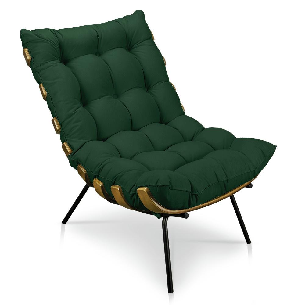 Poltrona Costela Suede Verde D'Rossi