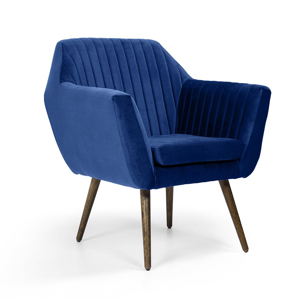 Poltrona Dani Tressê Veludo Azul Oxford B-304 Pés Palito Madeira - D'Rossi