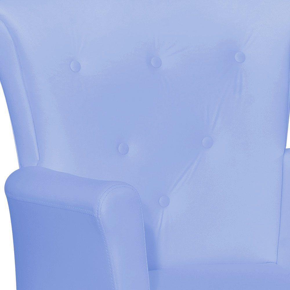 Poltrona de Amamentação com Puff Bárbara Botonê Corino Azul Claro K-1090 D'Rossi