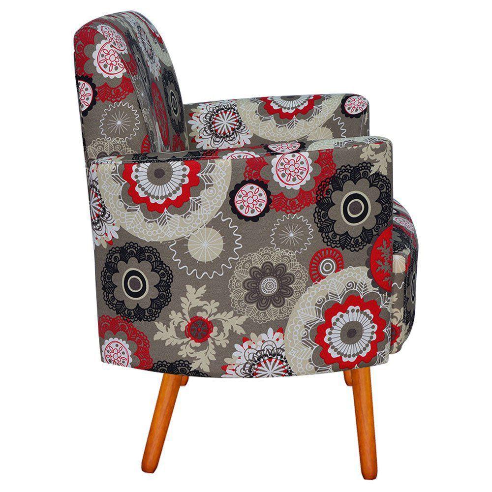 Poltrona Decorativa Agatha Braços Curvos Estampado Floral Vermelho D32 - D'Rossi