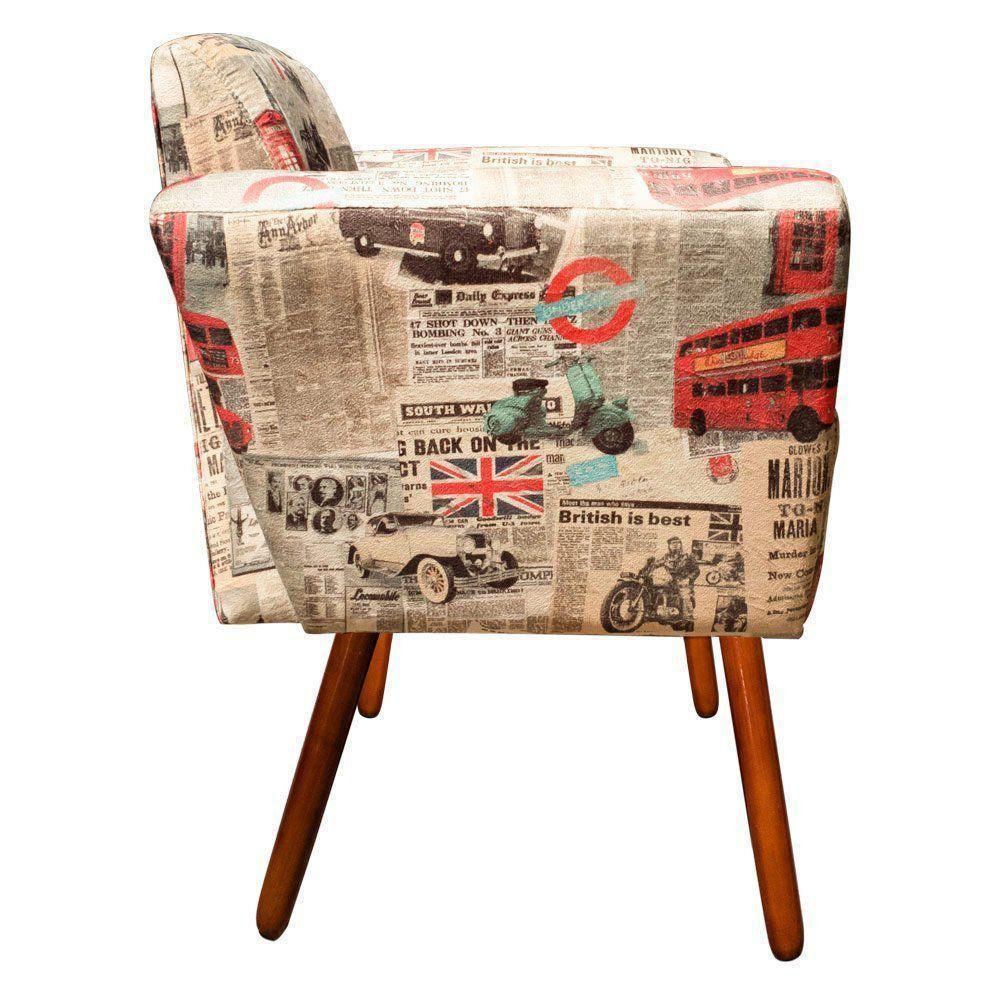 Poltrona Decorativa Dora Suede Estampado Londres D26 - D'Rossi