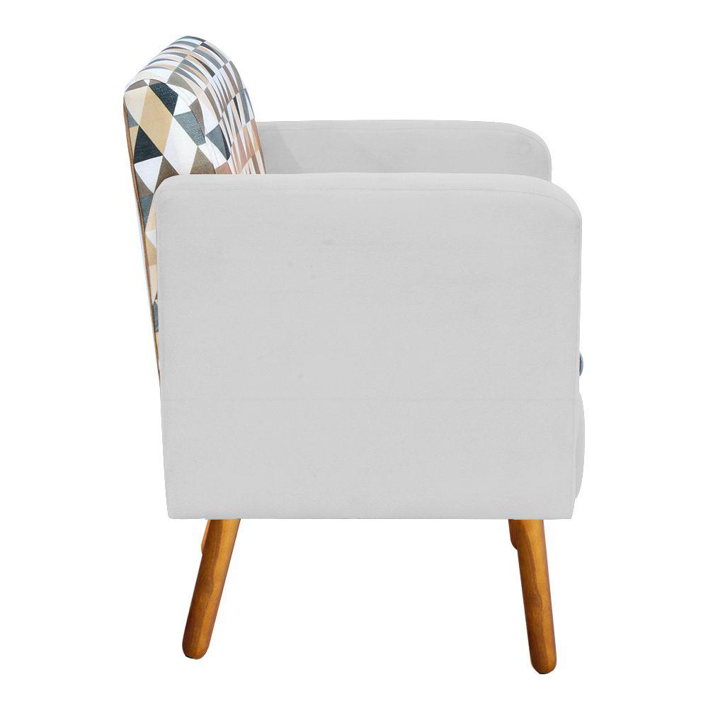 Poltrona Emília Estampado Triangulo D87 com Suede Branco Pés Palito D'Rossi