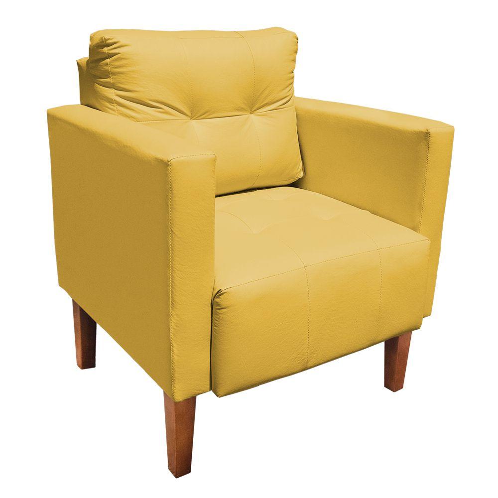 Poltrona Decorativa Lívia Corino Amarelo Pés Chanfrado D'Rossi