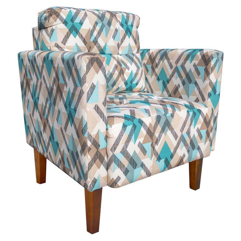 Poltrona Decorativa Lívia para Sala e Recepção Estampado Traçados Azul D33 - D'Rossi