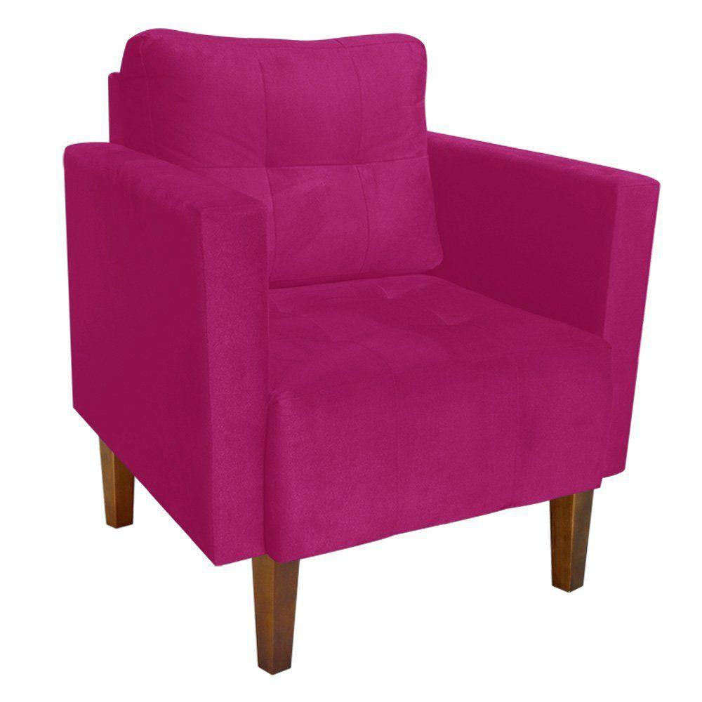 Poltrona Lívia Suede Pink Pés Chanfrado D'Rossi
