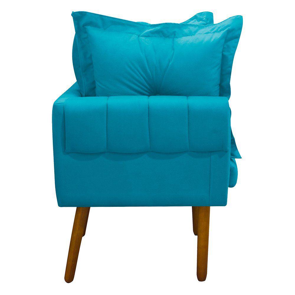 Poltrona Londres Suede Azul Turquesa Pés Palito Castanho D'Rossi