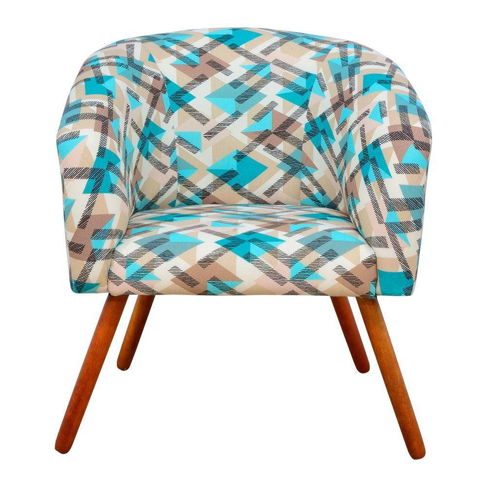 Poltrona Decorativa Stella Estampado Traçado Azul D33 Pés Palito - D'Rossi