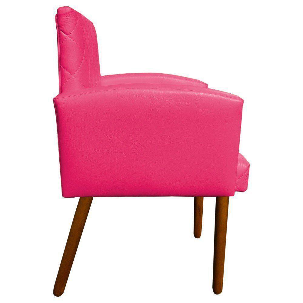 Poltrona Veronês Corino Pink Pés Palito Castanho D'Rossi