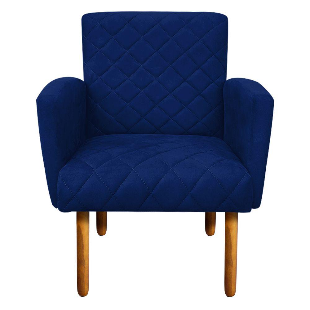 Poltrona Veronês Suede Azul Royal Pés Palito Castanho D'Rossi