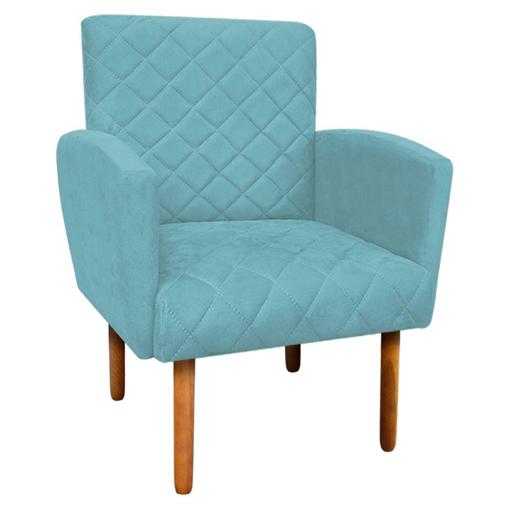 Poltrona Veronês Suede Azul Turquesa D'Rossi