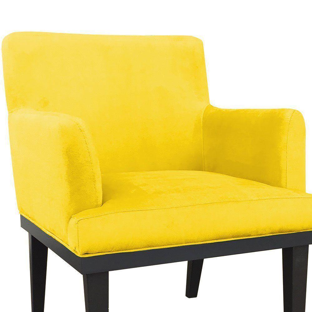 Poltrona Vitória Suede Amarelo D'Rossi