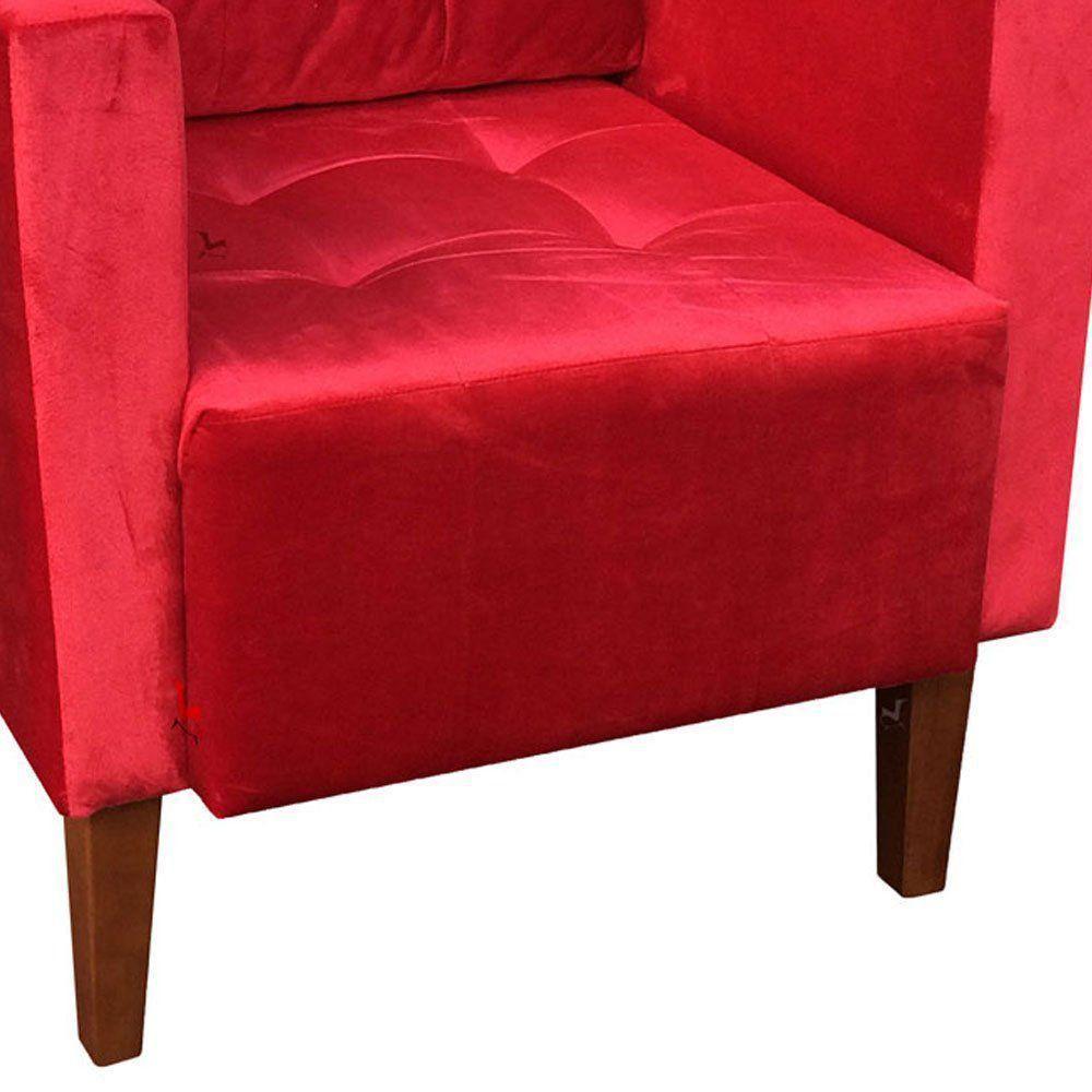 Poltrona Decorativa Lívia Acetinado Vermelho Pés Chanfrado D'Rossi