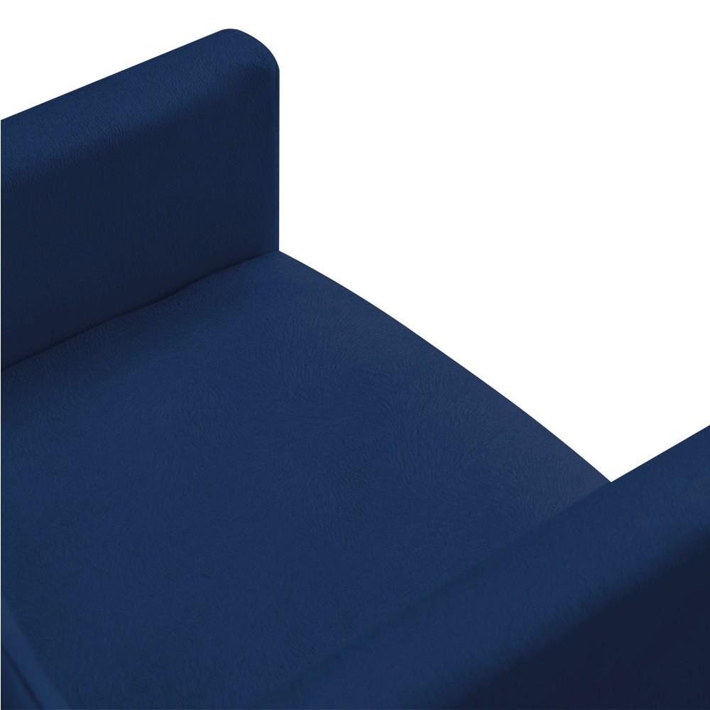 Poltrona Nina Suede Azul Marinho Pés Palito Castanho D'Rossi