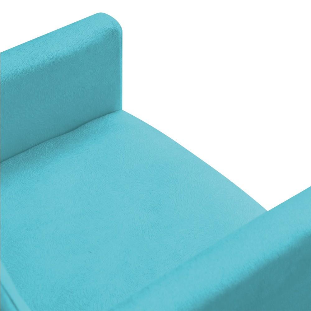 Poltrona Nina Suede Azul Turquesa Pés Palito Castanho D'Rossi