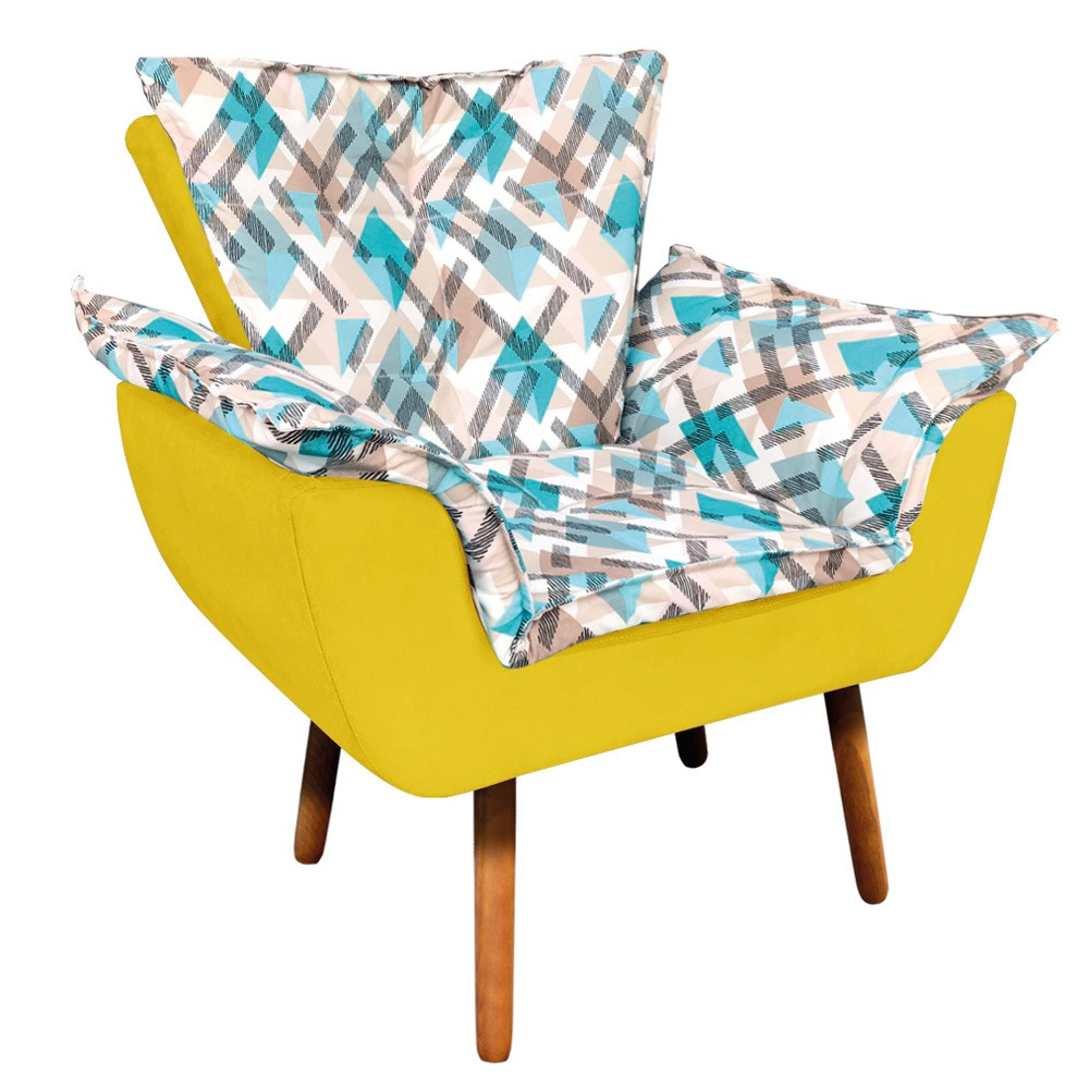 Poltrona Opala Composê Suede Amarelo com Estampado Traçado Azul D33 Pés Palito Castanho D'Rossi