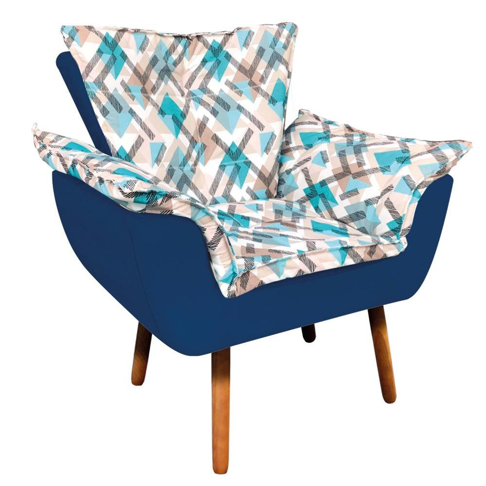 Poltrona Opala Composê Suede Azul Marinho com Estampado Traçado Azul D33 Pés Palito Castanho D'Rossi