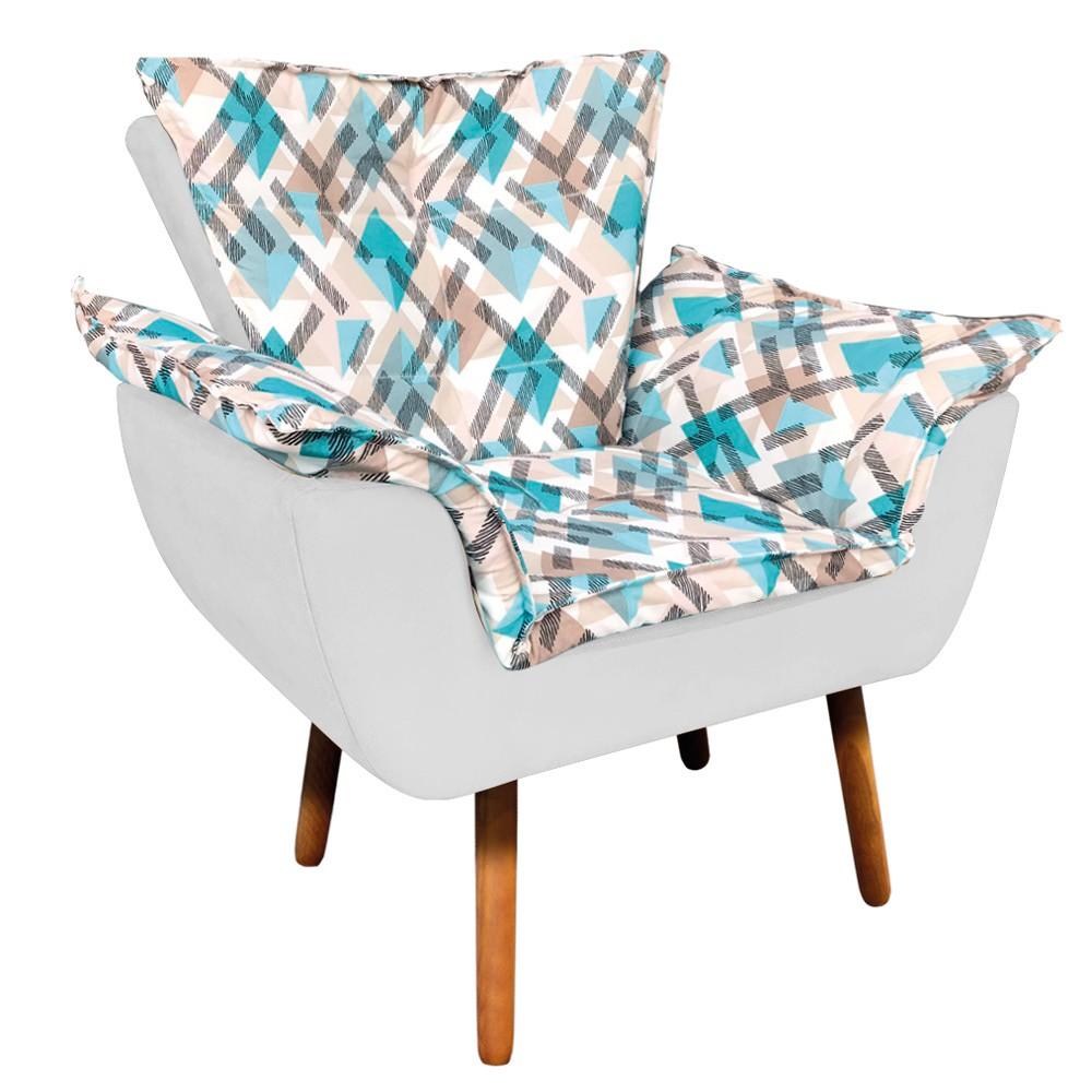 Poltrona Opala Composê Suede Branco com Estampado Traçado Azul D33 Pés Palito Castanho D'Rossi