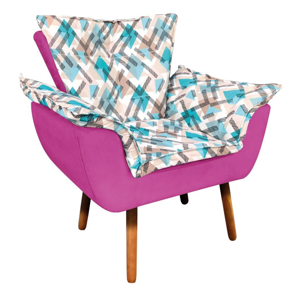 Poltrona Opala Composê Suede Pink com Estampado Traçado Azul D33 Pés Palito Castanho D'Rossi