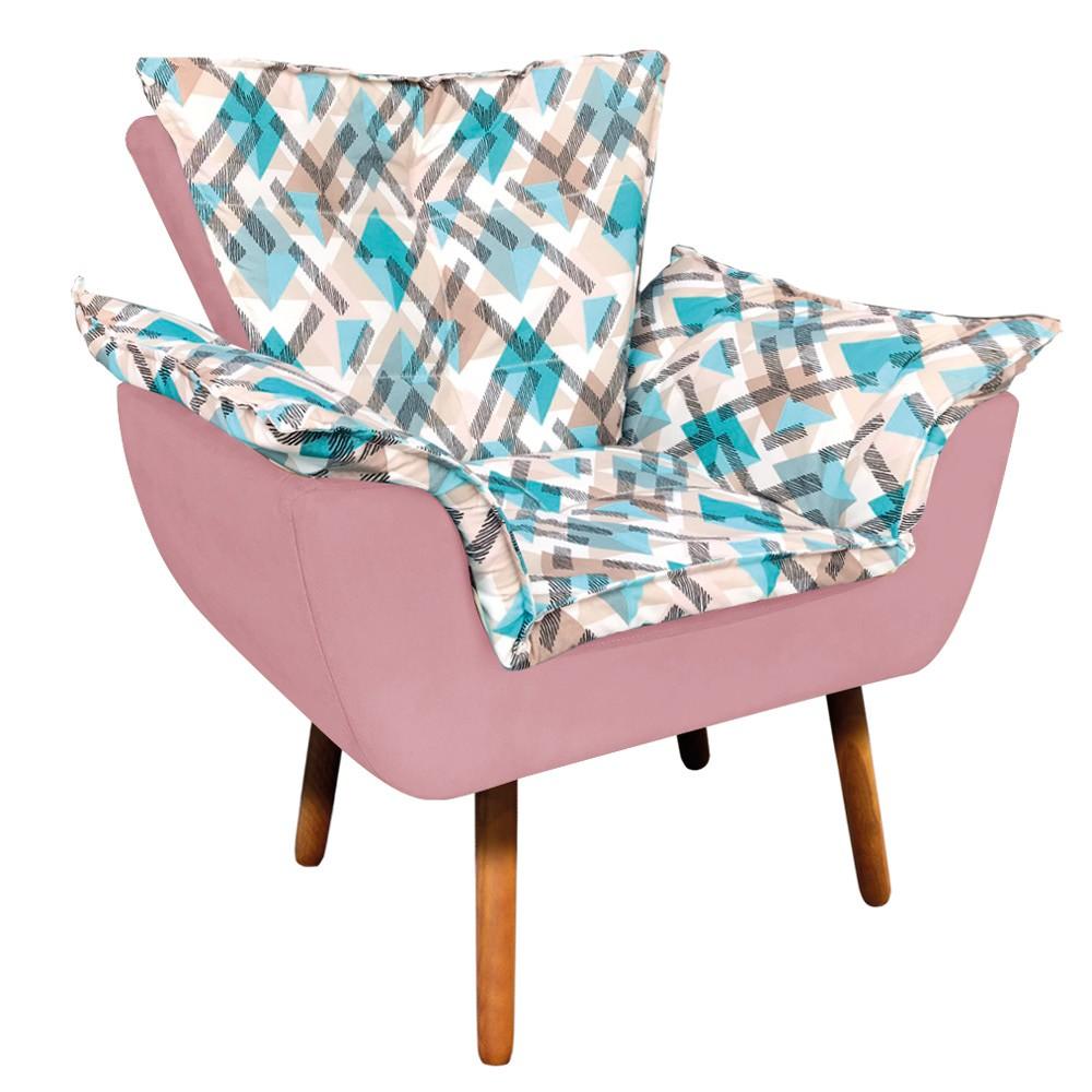 Poltrona Opala Composê Suede Rosê com Estampado Traçado Azul D33 Pés Palito Castanho D'Rossi