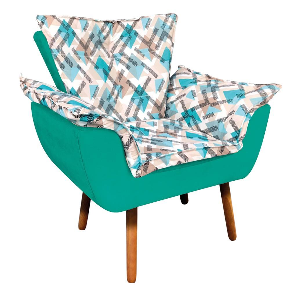Poltrona Opala Composê Suede Verde Turquesa com Estampado Traçado Azul D33 Pés Palito Castanho D'Rossi
