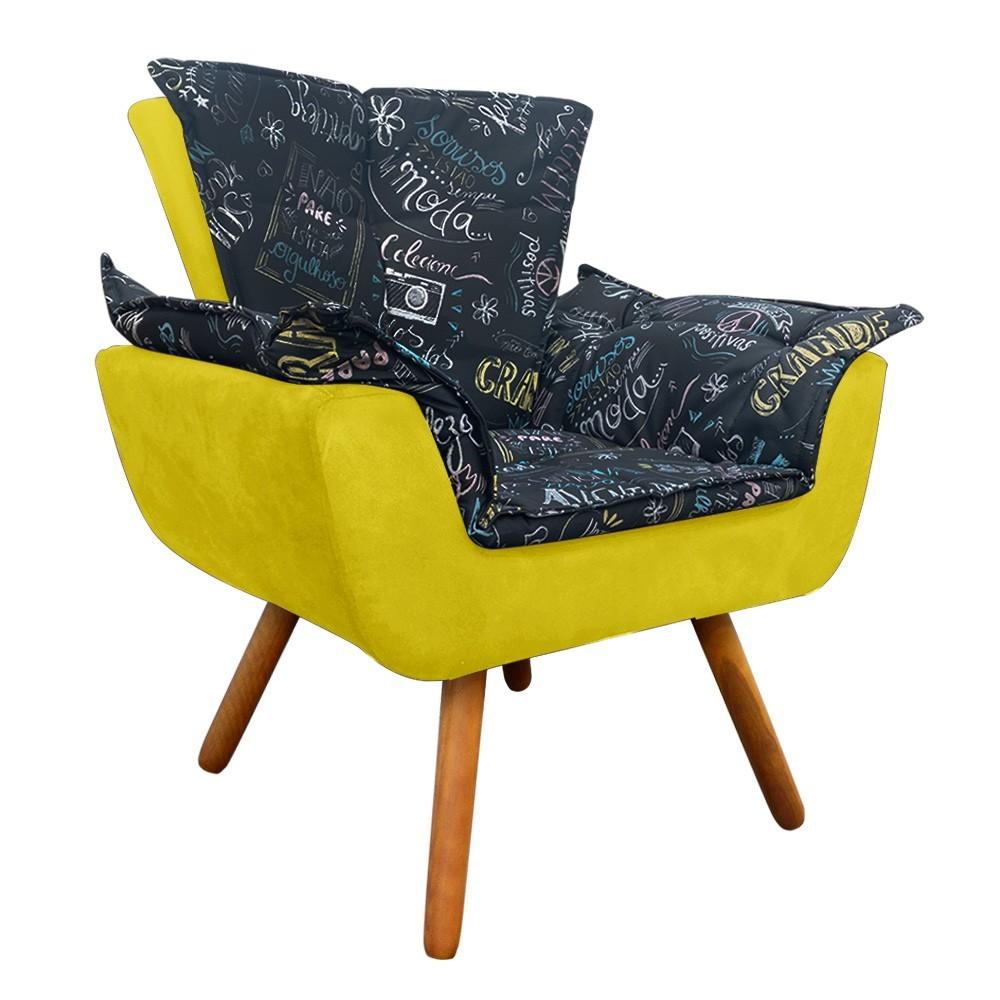 Poltrona Opala Estampado Preto Escrito D62 e Suede Amarelo Pés Palito Castanho D'Rossi