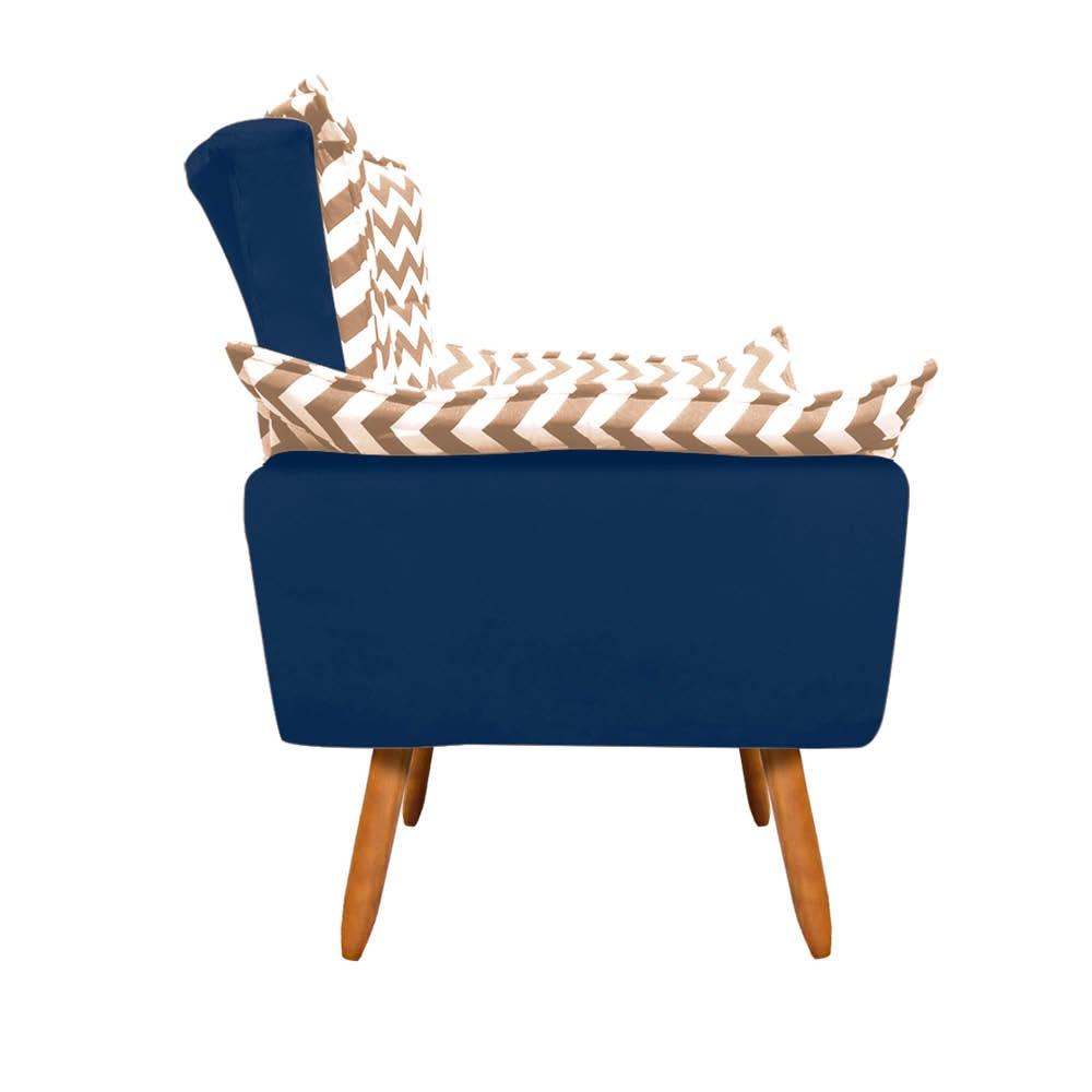 Poltrona Opala Zig Zag Bege D81 e Suede Azul Marinho Pés Palito Castanho D'Rossi