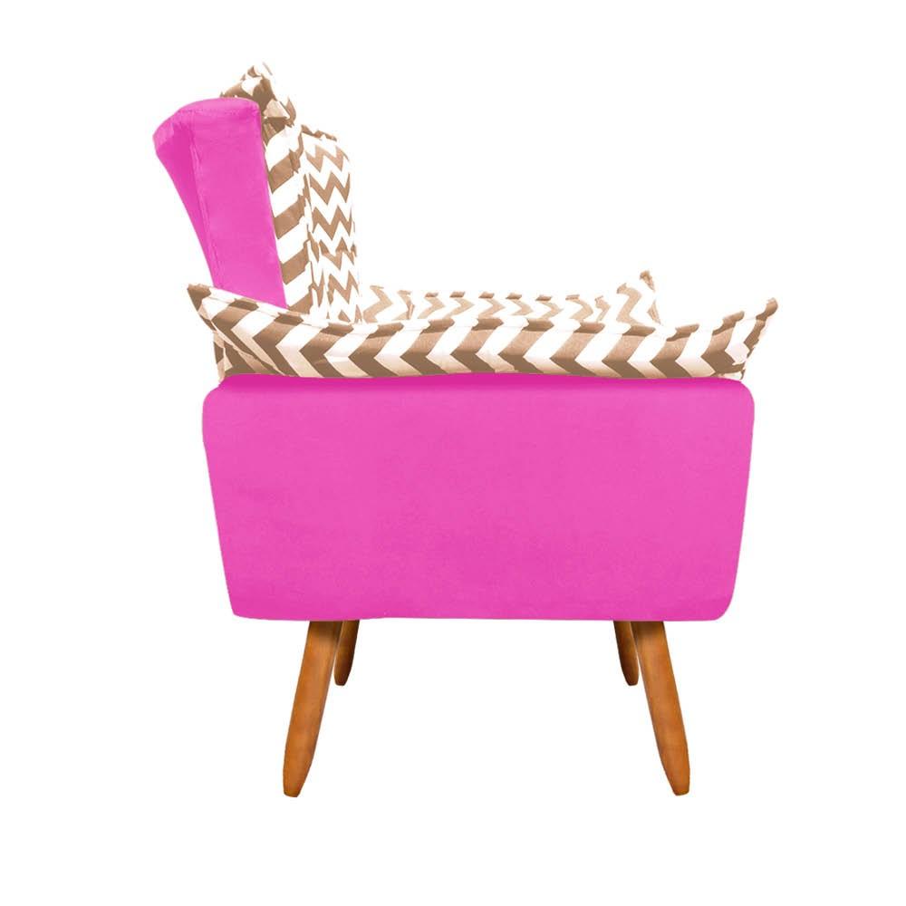 Poltrona Opala Zig Zag Bege D81 e Suede Pink Pés Palito Castanho D'Rossi