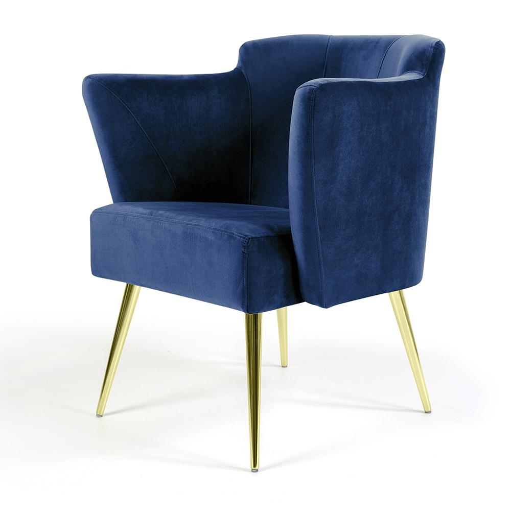 Poltrona Sabrina Veludo Azul Oxford B-304 Pés Palito Metálico Dourado - D'Rossi