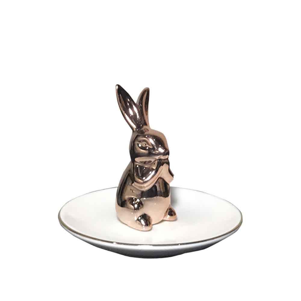 Porta-Anel em Cerâmica Coelho Branco Cobre 7,5X10cm - D'Rossi