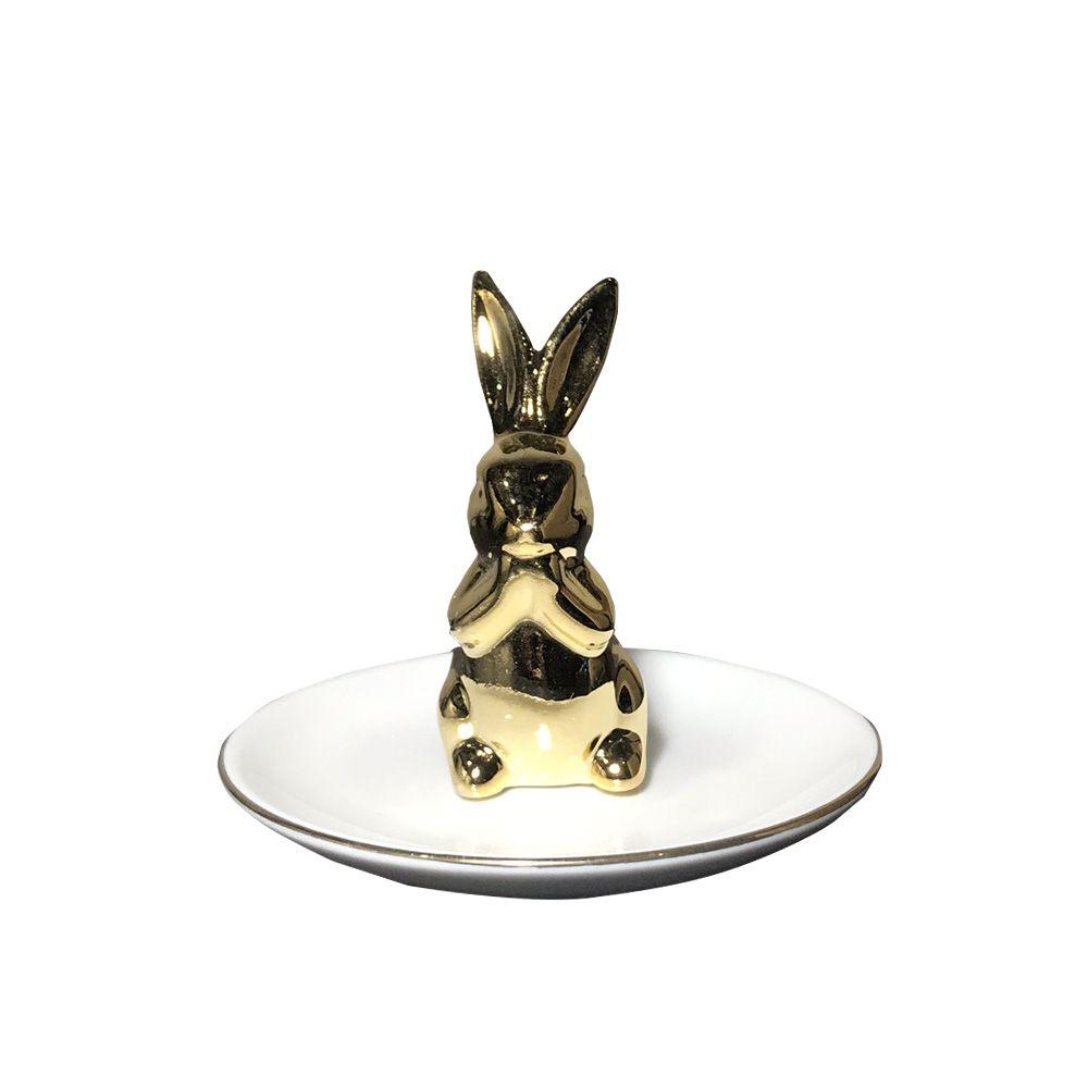 Porta-anel em Cerâmica Coelho branco e dourado 7,5X10cm - D'Rossi