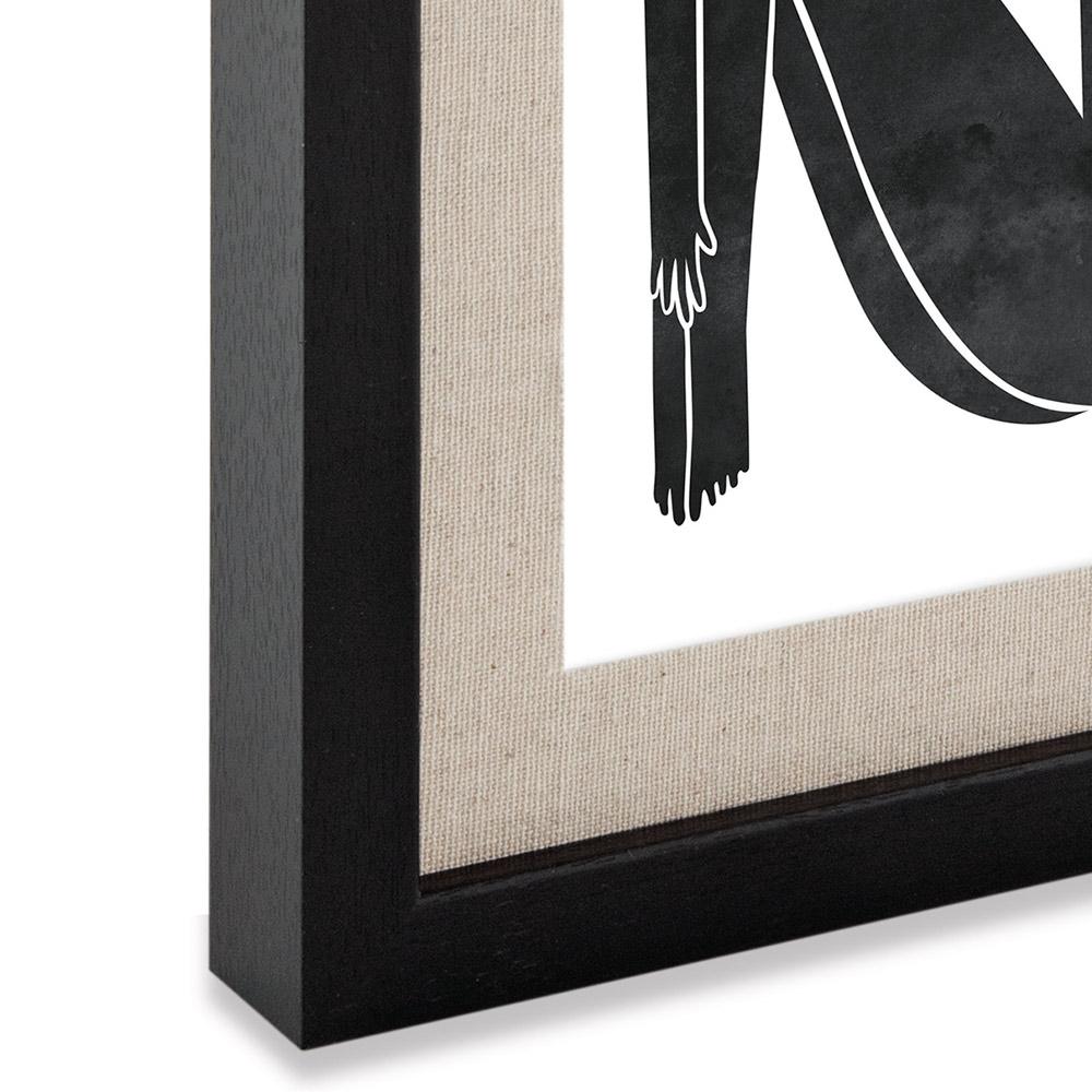 Porta Retrato em MDF Preto Com Linho Bege 27,8x22,8  cm - D'Rossi
