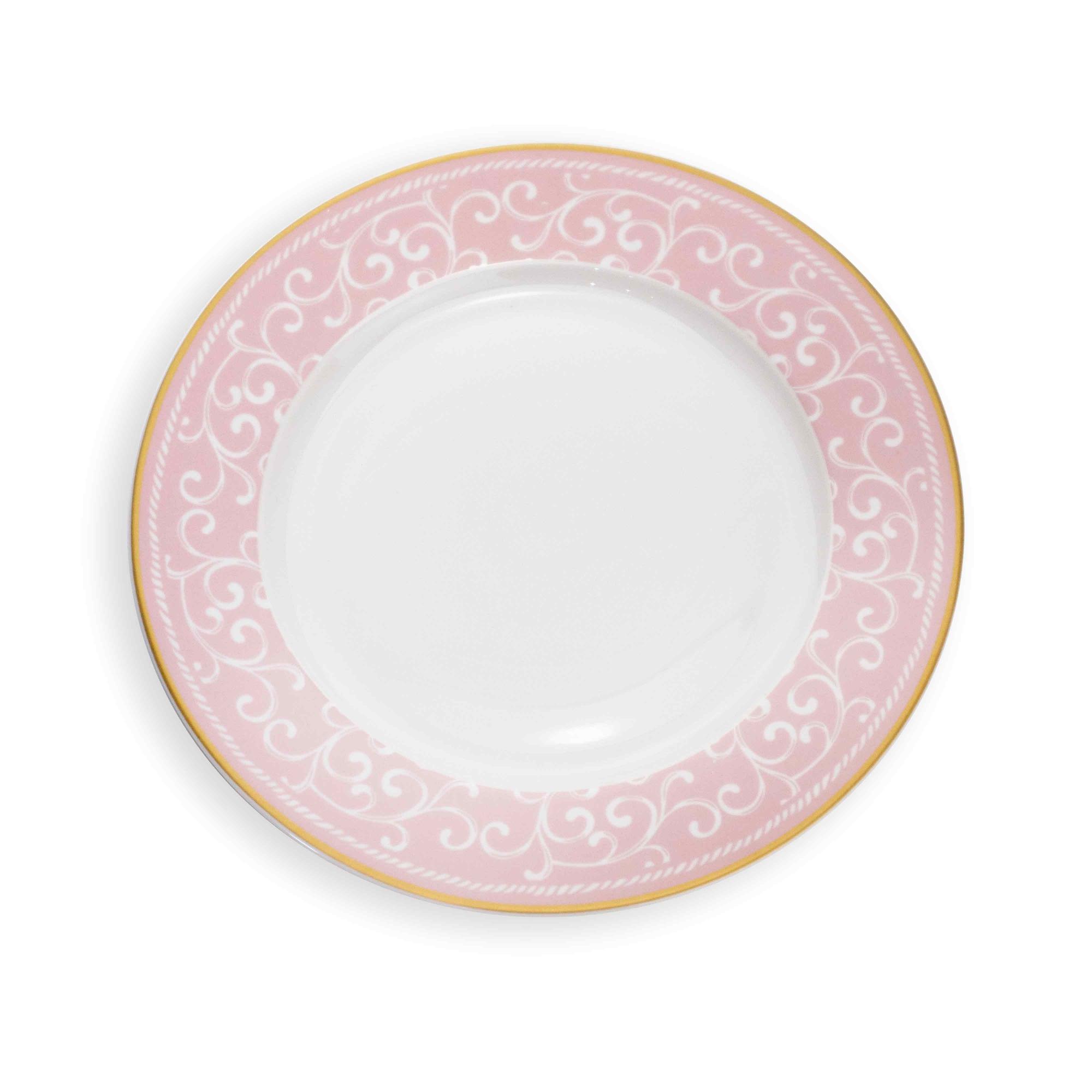 Prato de Sobremesa em Cerâmica com Detalhe de Arabesco Rosa e Dourado 20 cm - D'Rossi