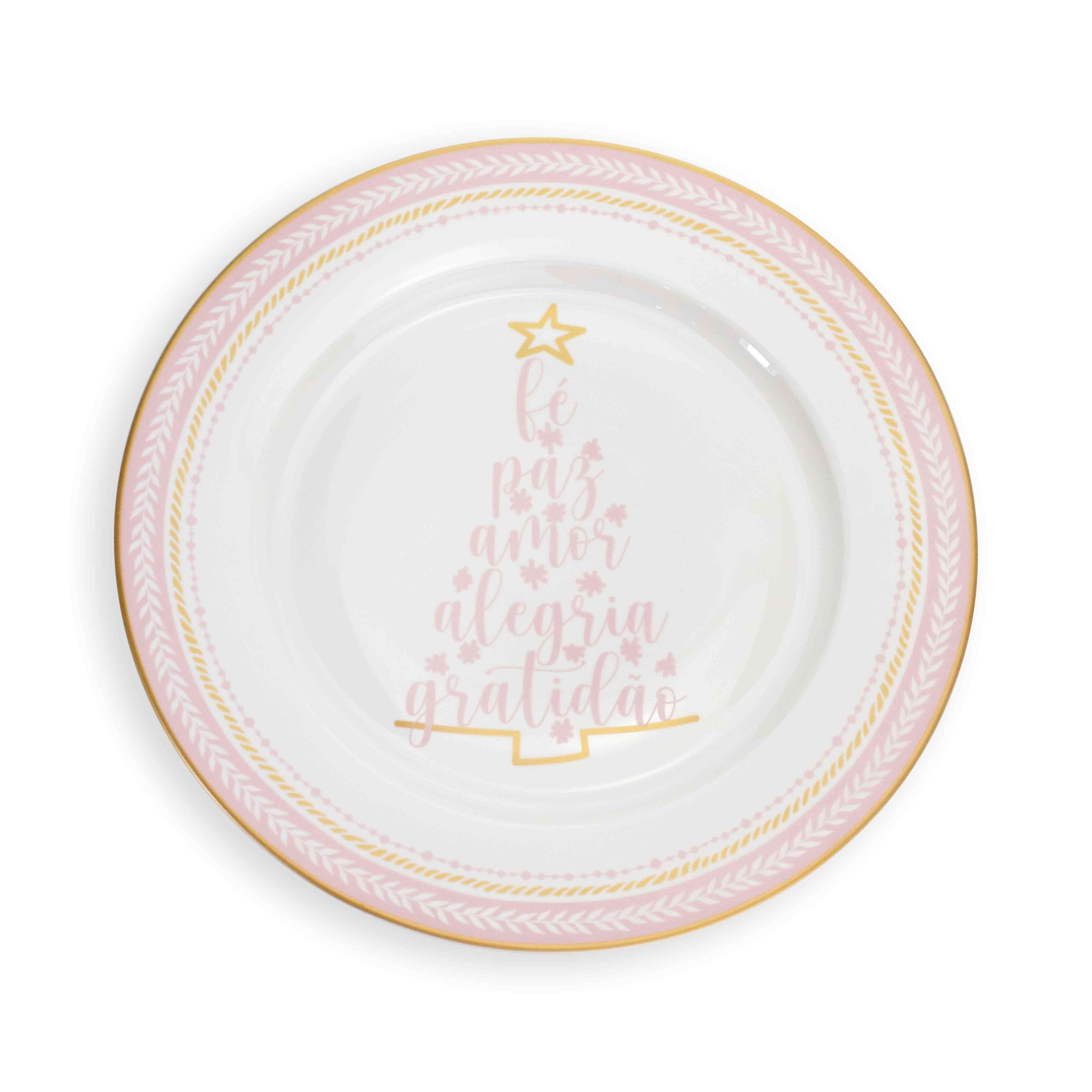 Prato Raso de Jantar Árvore de Natal em Cerâmica Branco e Rosa 28 cm - D'Rossi