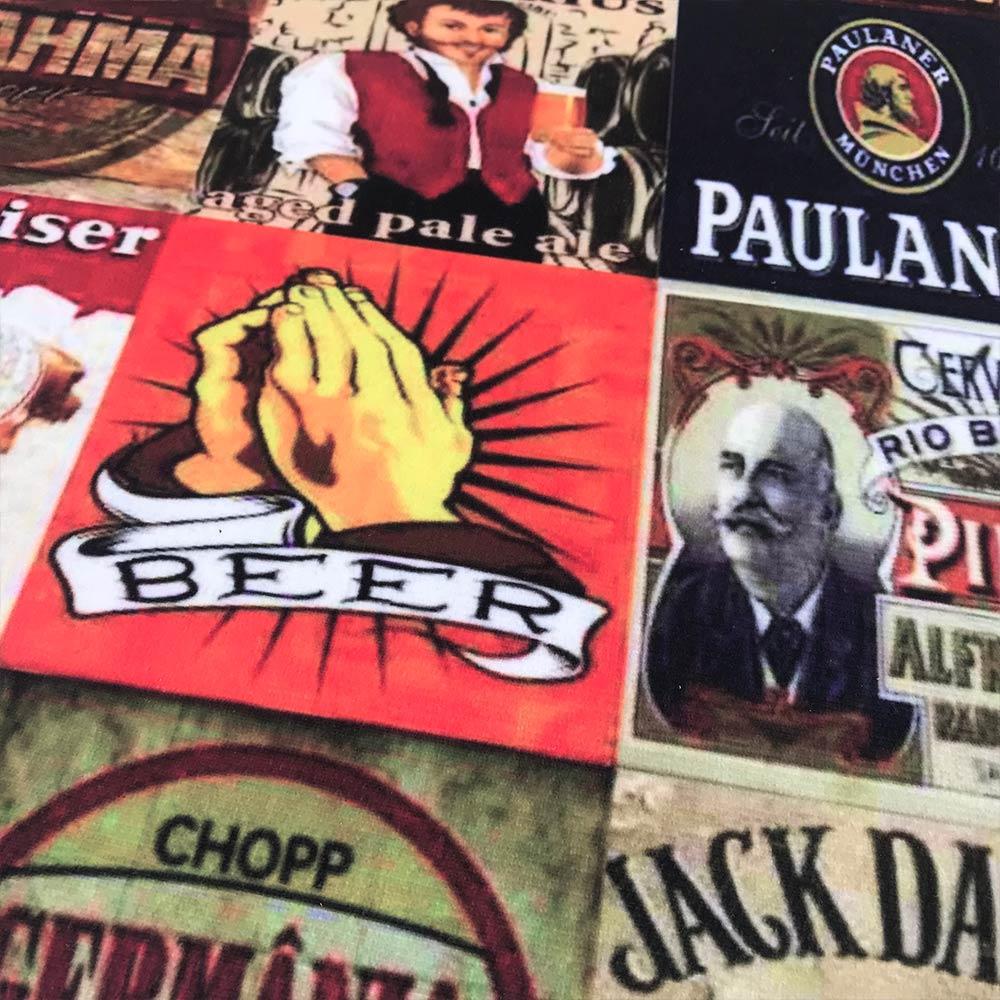 Puff Banqueta Berlim Redondo Estampado Beer Pés Tabaco D'Rossi