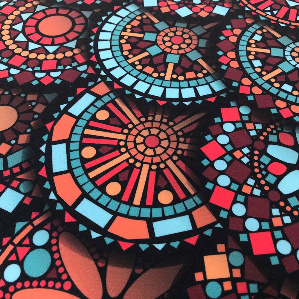 Puff Banqueta Berlim Redondo Estampado Mandala Vermelho Pés Natural D'Rossi