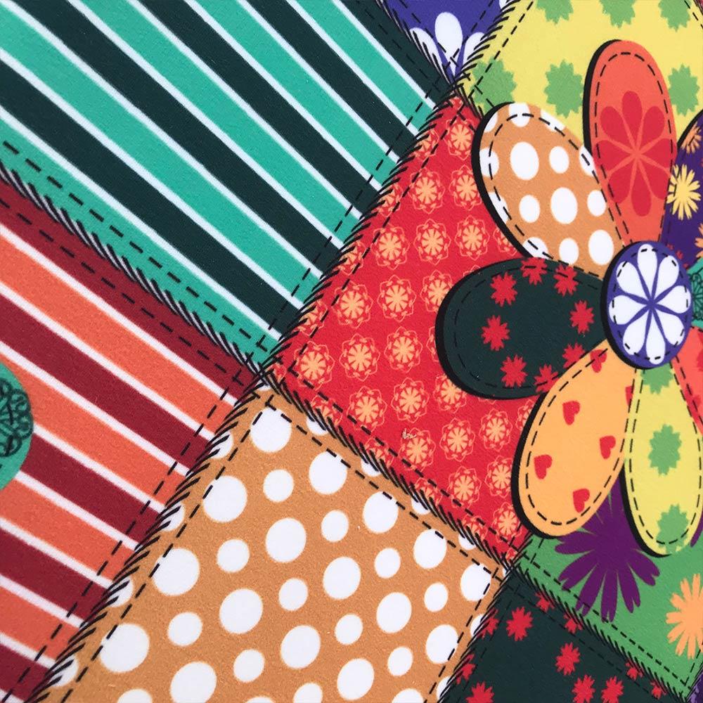 Puff Banqueta Berlim Redondo Estampado Patchwork Floral Pés Natural D'Rossi