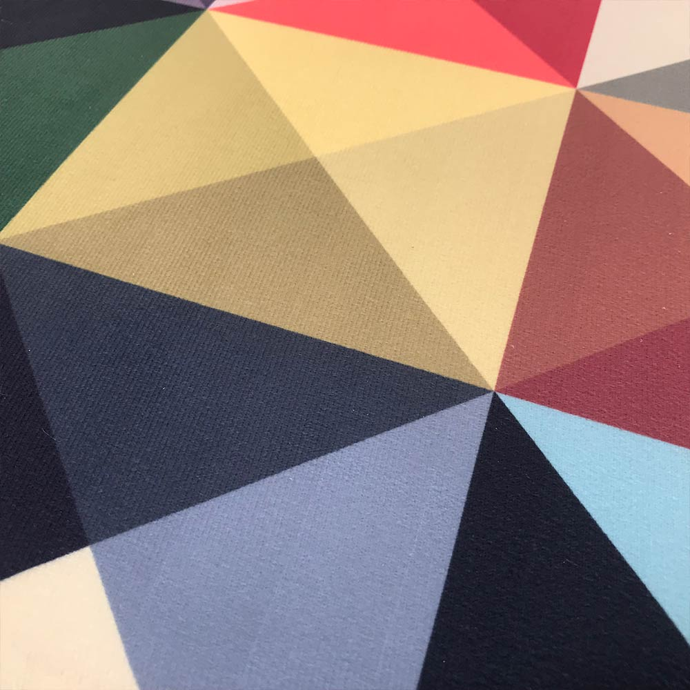 Puff Banqueta Berlim Redondo Estampado Triângulo Pés Natural D'Rossi