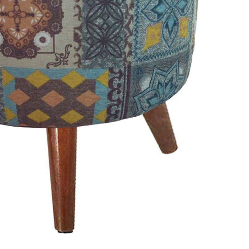 Puff Banqueta Decorativa Dora Redondo Estampada Azulejo Português D06 - D'Rossi