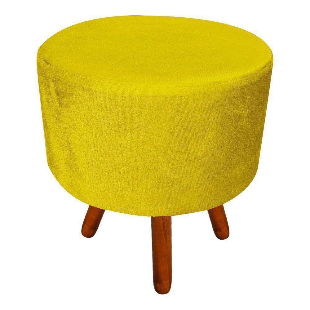 Puff Banqueta Decorativa Dora Redondo Suede Amarelo - D'Rossi