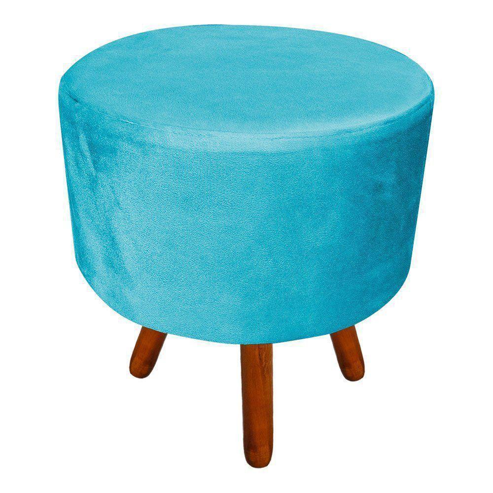 Puff Banqueta Decorativa Dora Redondo Suede Azul Turquesa - D'Rossi