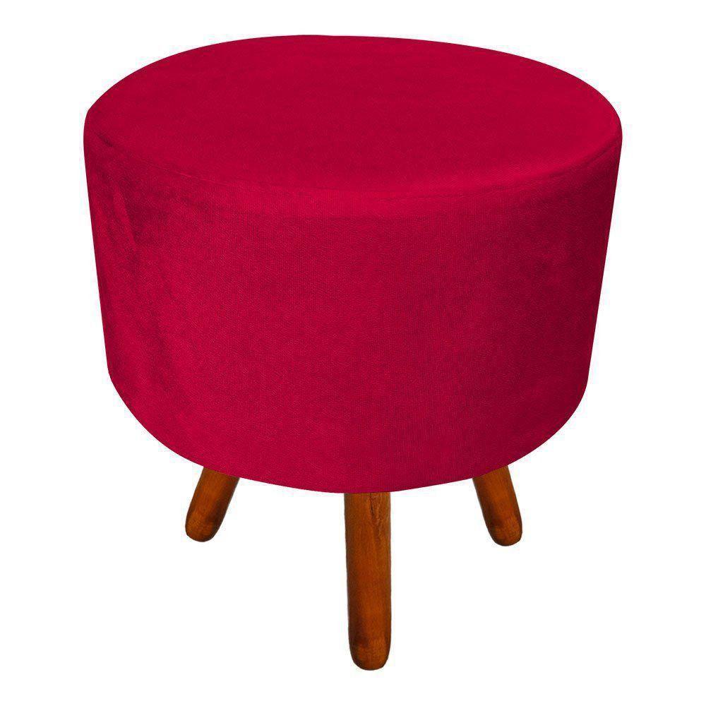 Puff Banqueta Decorativa Dora Redondo Suede Vermelho - D'Rossi