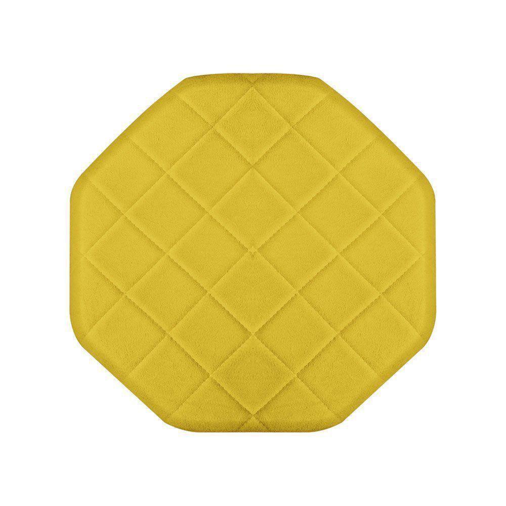 Puff Banqueta Decorativo Veronês Suede Amarelo - D'Rossi