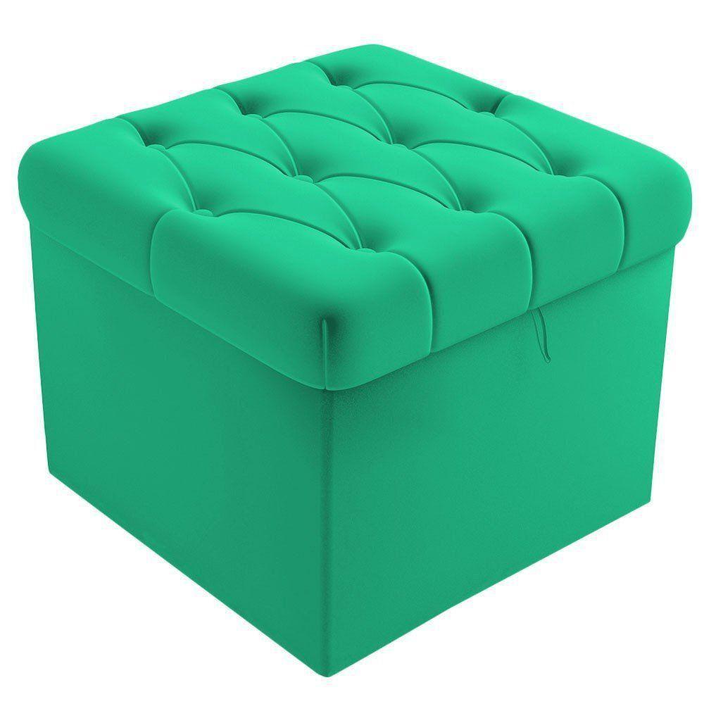 Puff Baú Capitonê Quadrado Suede Verde Turquesa - D'Rossi