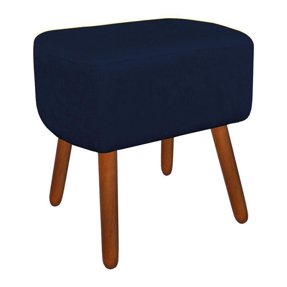 Puff Decorativo Curvo Agatha Suede Azul Marinho - D'Rossi