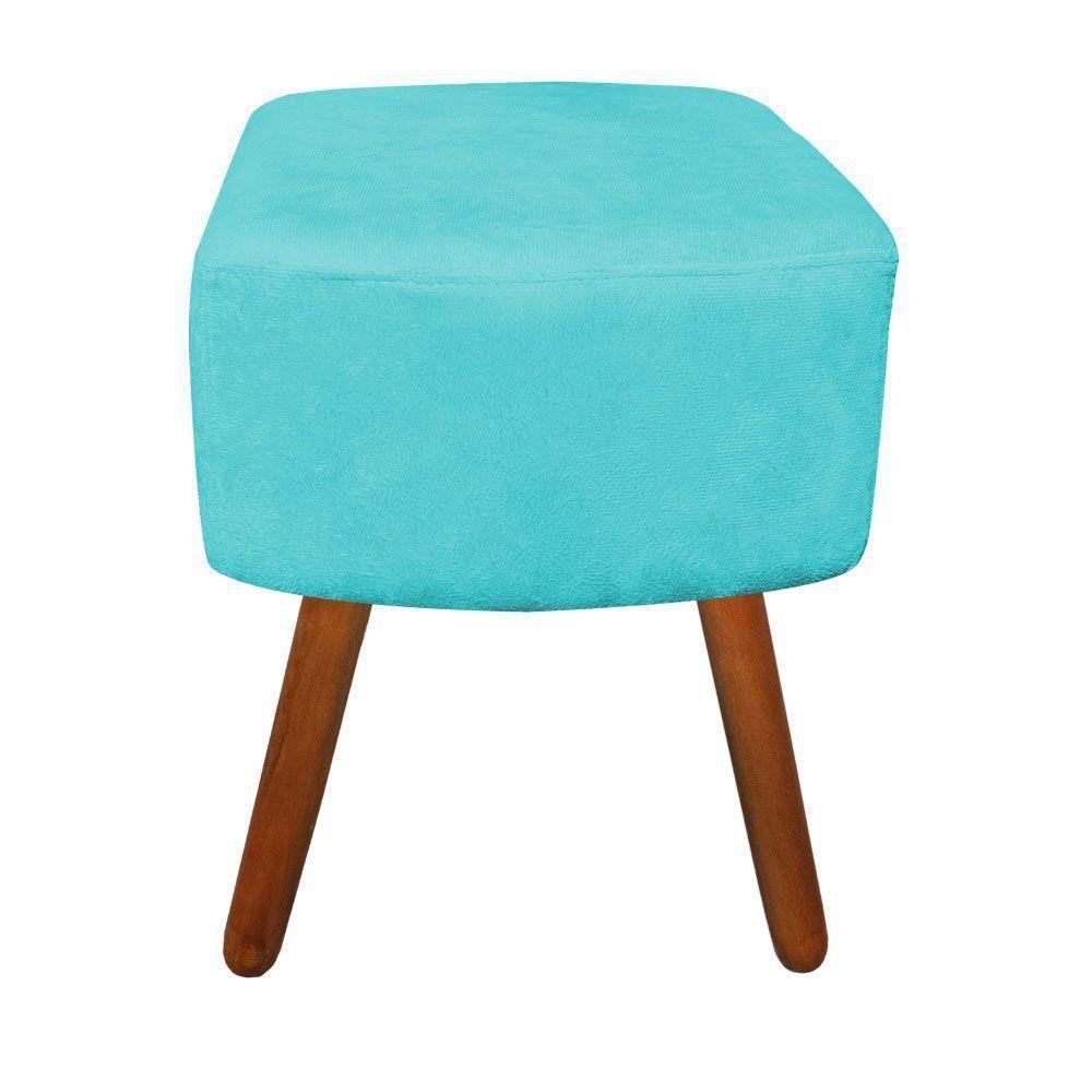 Puff Decorativo Curvo Agatha Suede Azul Turquesa - D'Rossi