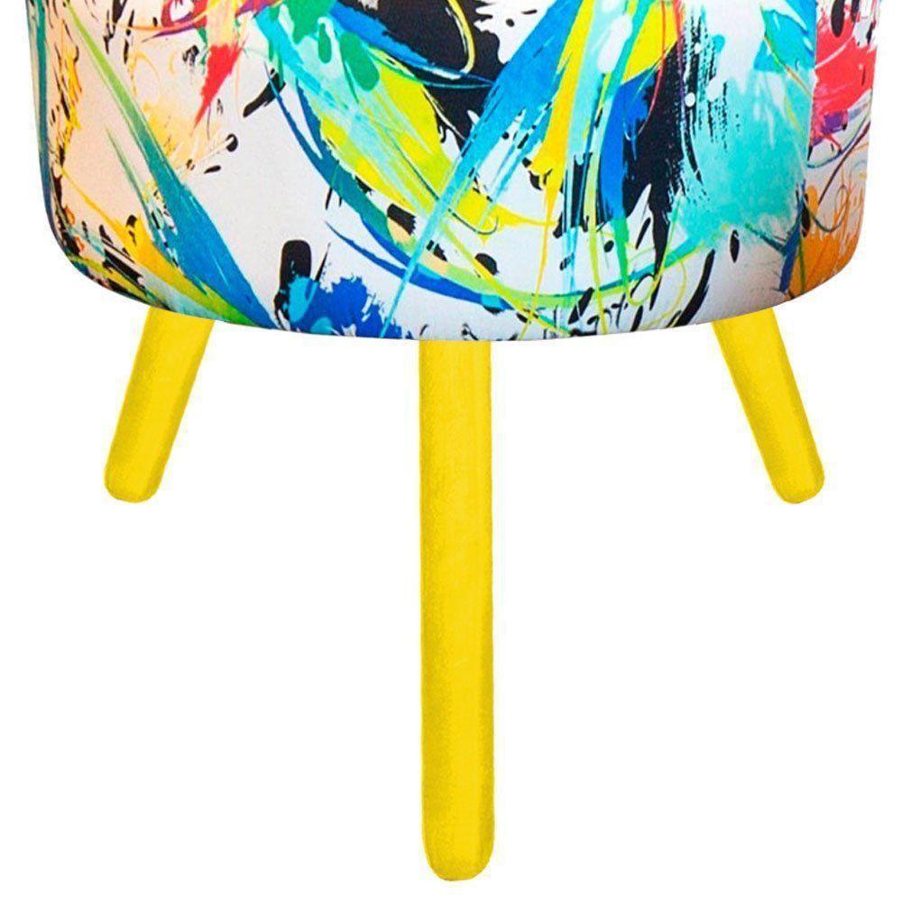 Puff Angel Redondo Estampado Color D18 Pés Palito Amarelo D'Rossi
